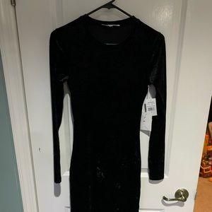 Side Slit Long Sleeve Velvet Dress GOOD AMERICAN